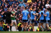 10 August 2019; Diarmuid Connolly, third from right, of Dublin restrains team-mates Cian O'Sullivan, and Jack McCaffrey from an altercation during the GAA Football All-Ireland Senior Championship Semi-Final match between Dublin and Mayo at Croke Park in Dublin. Photo by Stephen McCarthy/Sportsfile