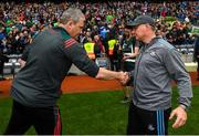 10 August 2019; Mayo manager James Horan, left, shakes hands with Dublin manager Jim Gavin following the GAA Football All-Ireland Senior Championship Semi-Final match between Dublin and Mayo at Croke Park in Dublin. Photo by Ramsey Cardy/Sportsfile