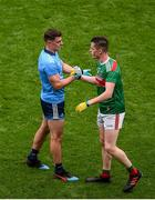 10 August 2019; Brian Howard of Dublin shakes hands with Stephen Coen of Mayo after the GAA Football All-Ireland Senior Championship Semi-Final match between Dublin and Mayo at Croke Park in Dublin. Photo by Daire Brennan/Sportsfile