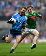 10 August 2019; Jack McCaffrey of Dublin in action against Patrick Durcan of Mayo during the GAA Football All-Ireland Senior Championship Semi-Final match between Dublin and Mayo at Croke Park in Dublin. Photo by Ramsey Cardy/Sportsfile