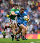 10 August 2019; Ciaran Kilkenny of Dublin in action against Eoin O'Donoghue of Mayo during the GAA Football All-Ireland Senior Championship Semi-Final match between Dublin and Mayo at Croke Park in Dublin. Photo by Ramsey Cardy/Sportsfile