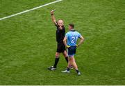 10 August 2019; Referee Conor Lane shows Cormac Costello of Dublin a black card during the GAA Football All-Ireland Senior Championship Semi-Final match between Dublin and Mayo at Croke Park in Dublin. Photo by Daire Brennan/Sportsfile
