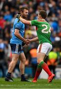10 August 2019; Jack McCaffrey of Dublin and Andy Moran of Mayo shake hands after the GAA Football All-Ireland Senior Championship Semi-Final match between Dublin and Mayo at Croke Park in Dublin. Photo by Ray McManus/Sportsfile
