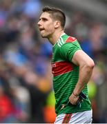10 August 2019; Lee Keegan of Mayo dejected after the GAA Football All-Ireland Senior Championship Semi-Final match between Dublin and Mayo at Croke Park in Dublin. Photo by Piaras Ó Mídheach/Sportsfile