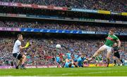 10 August 2019; Lee Keegan of Mayo shoots to score his side's first goal during the GAA Football All-Ireland Senior Championship Semi-Final match between Dublin and Mayo at Croke Park in Dublin. Photo by Sam Barnes/Sportsfile