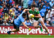 10 August 2019; Diarmuid O'Connor of Mayo in action against David Byrne of Dublin during the GAA Football All-Ireland Senior Championship Semi-Final match between Dublin and Mayo at Croke Park in Dublin. Photo by Sam Barnes/Sportsfile