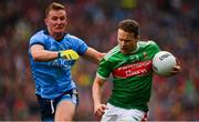 10 August 2019; Andy Moran of Mayo in action against Ciaran Kilkenny of Dublin during the GAA Football All-Ireland Senior Championship Semi-Final match between Dublin and Mayo at Croke Park in Dublin. Photo by Sam Barnes/Sportsfile