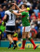 10 August 2019; Dublin captain Stephen Cluxton and Andy Moran of Mayo after the GAA Football All-Ireland Senior Championship Semi-Final match between Dublin and Mayo at Croke Park in Dublin. Photo by Ray McManus/Sportsfile