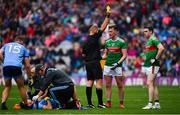10 August 2019; Cillian O'Connor of Mayo is shown a second yellow card by referee Conor Lane during the GAA Football All-Ireland Senior Championship Semi-Final match between Dublin and Mayo at Croke Park in Dublin. Photo by Sam Barnes/Sportsfile