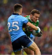 10 August 2019; Andy Moran of Mayo is tackled by Eoin Murchan of Dublin during the GAA Football All-Ireland Senior Championship Semi-Final match between Dublin and Mayo at Croke Park in Dublin. Photo by Ray McManus/Sportsfile