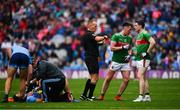 10 August 2019; Cillian O'Connor of Mayo, second from right, leaves the field after being shown a second yellow card, and subsequent red card by referee Conor Lane during the GAA Football All-Ireland Senior Championship Semi-Final match between Dublin and Mayo at Croke Park in Dublin. Photo by Sam Barnes/Sportsfile