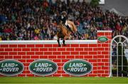 10 August 2019; Michael Pender of Ireland, competing on Hearton Du Bois Halleux, clears 2 metres during the Land Rover Puissance at the Stena Line Dublin Horse Show 2019 at the RDS in Dublin. Photo by Harry Murphy/Sportsfile