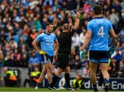 10 August 2019; Cormac Costello of Dublin is shown a 'black card' late in the game by referee Conor Lane during the GAA Football All-Ireland Senior Championship Semi-Final match between Dublin and Mayo at Croke Park in Dublin. Photo by Ray McManus/Sportsfile