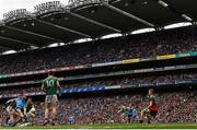 10 August 2019; Niall Scully of Dublin shoots at goal despite the attention of Seamus O'Shea, left, and Colm Boyle of Mayo during the GAA Football All-Ireland Senior Championship Semi-Final match between Dublin and Mayo at Croke Park in Dublin. Photo by Ramsey Cardy/Sportsfile