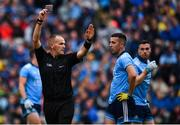 10 August 2019; Referee Conor Lane shows Cormac Costello of Dublin a black card during the GAA Football All-Ireland Senior Championship Semi-Final match between Dublin and Mayo at Croke Park in Dublin. Photo by Sam Barnes/Sportsfile