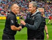 10 August 2019; Referee Conor Lane and Mayo manager James Horan shake hands before the GAA Football All-Ireland Senior Championship Semi-Final match between Dublin and Mayo at Croke Park in Dublin. Photo by Ray McManus/Sportsfile