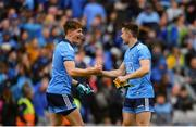 10 August 2019; Michael Fitzsimons, left, and David Byrne of Dublin celebrate following the GAA Football All-Ireland Senior Championship Semi-Final match between Dublin and Mayo at Croke Park in Dublin. Photo by Sam Barnes/Sportsfile