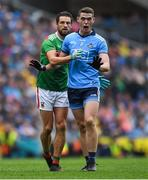 10 August 2019; Tom Parsons of Mayo with Brian Fenton of Dublin during the GAA Football All-Ireland Senior Championship Semi-Final match between Dublin and Mayo at Croke Park in Dublin. Photo by Piaras Ó Mídheach/Sportsfile