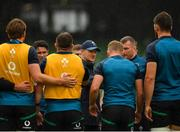 10 August 2019; Ireland head coach Joe Schmidt talks to his players prior to the Guinness Summer Series 2019 match between Ireland and Italy at the Aviva Stadium in Dublin. Photo by Seb Daly/Sportsfile
