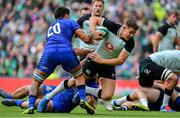 10 August 2019; Garry Ringrose of Ireland is tackled by Renato Giammarioli and Giovanni Licata of Italy during the Guinness Summer Series 2019 match between Ireland and Italy at the Aviva Stadium in Dublin. Photo by Brendan Moran/Sportsfile