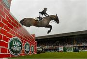 10 August 2019; Wesley Ryan of Ireland, competing on Larthago, during the Land Rover Puissance at the Stena Line Dublin Horse Show 2019 at the RDS in Dublin. Photo by Harry Murphy/Sportsfile