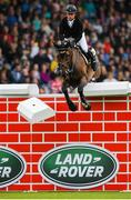 10 August 2019; Richard Howley of Ireland, competing Notis Me, during the Land Rover Puissance at the Stena Line Dublin Horse Show 2019 at the RDS in Dublin. Photo by Harry Murphy/Sportsfile