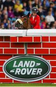 10 August 2019; Barbara Schnieper of Switzerland, competing on, Camara Bella Ch, pulls up during the Land Rover Puissance at the Stena Line Dublin Horse Show 2019 at the RDS in Dublin. Photo by Harry Murphy/Sportsfile