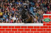 10 August 2019; Alexander Kisselbach of Germany, competing on Gannan, during the Land Rover Puissance at the Stena Line Dublin Horse Show 2019 at the RDS in Dublin. Photo by Harry Murphy/Sportsfile