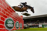 10 August 2019; Louis Deforche of Belgium, competing on Gladstone, during the Land Rover Puissance at the Stena Line Dublin Horse Show 2019 at the RDS in Dublin. Photo by Harry Murphy/Sportsfile