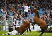 10 August 2019; Santi Serra and his horses entertain the crowd prior to the Land Rover Puissance at the Stena Line Dublin Horse Show 2019 at the RDS in Dublin. Photo by Harry Murphy/Sportsfile