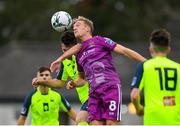 10 August 2019; John Mountney of Dundalk in action against Greg Henry of Cobh Ramblers during the Extra.ie FAI Cup First Round match between Cobh Ramblers and Dundalk at St. Colman's Park in Cobh, Co. Cork. Photo by Eóin Noonan/Sportsfile