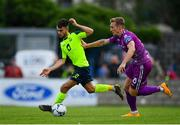 10 August 2019; Kevin Taylor of Cobh Ramblers in action against John Mountney of Dundalk during the Extra.ie FAI Cup First Round match between Cobh Ramblers and Dundalk at St. Colman's Park in Cobh, Co. Cork. Photo by Eóin Noonan/Sportsfile