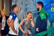 10 August 2019; Italy attack coach Mike Catt, left, in conversation with Ireland defence coach Andy Farrell prior to the Guinness Summer Series 2019 match between Ireland and Italy at the Aviva Stadium in Dublin. Photo by Brendan Moran/Sportsfile