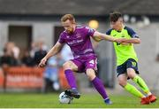 10 August 2019; Seán Hoare of Dundalk in action against Stephen O'Leary of Cobh Ramblers during the Extra.ie FAI Cup First Round match between Cobh Ramblers and Dundalk at St. Colman's Park in Cobh, Co. Cork. Photo by Eóin Noonan/Sportsfile