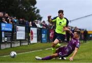 10 August 2019; Charlie Fleming of Cobh Ramblers is tackled by Daniel Cleary of Dundalk during the Extra.ie FAI Cup First Round match between Cobh Ramblers and Dundalk at St. Colman's Park in Cobh, Co. Cork. Photo by Eóin Noonan/Sportsfile