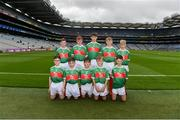 10 August 2019; The Mayo team, back row, left to right, Lorcan Mone, Scoil Mhuire mBuachaillí, Castleblayney, Monaghan, Ruairí Ó hAiniféin, Gaelscoil Mhic Easmainn, Trá Lí, Co Chiarraí, representing Mayo, Cillian Twohig, Kilmeen NS, Clonakilty ,Cork, representing Mayo, Elliot Friel, Scoil Iosag·in Buncrana, Inishowen, Donegal, representing Mayo, Charlie McGrath, Ballyholland PS,Newry, Down, representing Mayo, front row, left to right, Darragh McCormack, St. Brigidís NS, Drumcong, Leitrim, representing Mayo, Ciarán Molloy, St. Josephís PS, Madden, Armagh, representing Mayo, Kobe McDonald, Crossmolina NS, Crossmolina, Mayo, Odhr·n McGovern, St Paulís PS, Irvinestown, Fermanagh, representing Mayo, Sean Gallahue, Anglesboro NS, Anglesboro, Limerick, representing Mayo, representing Mayo, ahead of the INTO Cumann na mBunscol GAA Respect Exhibition Go Games during the GAA Football All-Ireland Senior Championship Semi-Final match between Dublin and Mayo at Croke Park in Dublin. Photo by Daire Brennan/Sportsfile