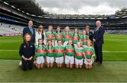 10 August 2019; INTO General Secretary John Boyle, LGFA Chief Executive Helen O'Rourke, Cumann na mBunscol President Mairéad O'Callaghan, Uachtarán Chumann Lúthchleas Gael John Horan, with the Mayo team, back row, left to right, Caoimhe Kelly, Mullaghrafferty, Carrickmacross, Monaghan, Aisling McWeeney, Drumcong NS, Drumcong, Leitrim, Lilly Murray, Ballymurray NS, Ballymurray, Roscommon, Rebekah Cuddihy, Kilusty NS, Fethard, Tipperary, Lucy Henry, Scoil Mhuire Gan Sm·l, Curry, Sligo, front row, left to right, Laura Duff, St. Teresaís PS, Loughmacrory, Omagh, Tyrone, Laura O'Shea, Herbertstown NS, Herbertstown, Limerick, Holly O'Shea, Herbertstown NS, Herbertstown, Limerick, Ava Connolly, Rathgormack NS, Rathgormack, Waterford, Caoimhe Gollogly, Our Ladyís & St. Mochuaís PS, Derrynoose, Armagh, Shelly Ryan, Ballyporeen NS, Cahir, Tipperary, ahead of the INTO Cumann na mBunscol GAA Respect Exhibition Go Games during the GAA Football All-Ireland Senior Championship Semi-Final match between Dublin and Mayo at Croke Park in Dublin. Photo by Daire Brennan/Sportsfile