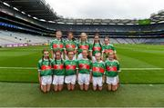 10 August 2019; The Mayo team, back row, left to right, Caoimhe Kelly, Mullaghrafferty, Carrickmacross, Monaghan, Aisling McWeeney, Drumcong NS, Drumcong, Leitrim, Lilly Murray, Ballymurray NS, Ballymurray, Roscommon, Rebekah Cuddihy, Kilusty NS, Fethard, Tipperary, Lucy Henry, Scoil Mhuire Gan Sm·l, Curry, Sligo, front row, left to right, Laura Duff, St. Teresaís PS, Loughmacrory, Omagh, Tyrone, Laura O'Shea, Herbertstown NS, Herbertstown, Limerick, Holly O'Shea, Herbertstown NS, Herbertstown, Limerick, Ava Connolly, Rathgormack NS, Rathgormack, Waterford, Caoimhe Gollogly, Our Ladyís & St. Mochuaís PS, Derrynoose, Armagh, Shelly Ryan, Ballyporeen NS, Cahir, Tipperary, ahead of the INTO Cumann na mBunscol GAA Respect Exhibition Go Games during the GAA Football All-Ireland Senior Championship Semi-Final match between Dublin and Mayo at Croke Park in Dublin. Photo by Daire Brennan/Sportsfile