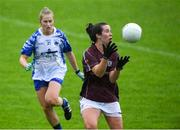 10 August 2019; Roisin Leonard of Galway in action against Mairead Wall of Waterford during the TG4 All-Ireland Ladies Football Senior Championship Quarter-Final match between Galway and Waterford at Glennon Brothers Pearse Park in Longford. Photo by Matt Browne/Sportsfile