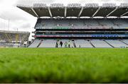 11 August 2019; Groundsmen repair divots ahead of the GAA Football All-Ireland Senior Championship Semi-Final match between Kerry and Tyrone at Croke Park in Dublin. Photo by Eóin Noonan/Sportsfile