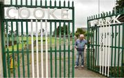 10 August 2019; James O'Reilly, Vice Chairman of St. Michael's, opening the gates of Cooke Park ahead of the Extra.ie FAI Cup First Round match between St. Michael's and Glengad United at Cooke Park in Tipperary. Photo by Eóin Noonan/Sportsfile