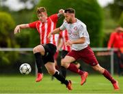 11 August 2019; Eoin Fowler of Killester Donnycarney in action against Shane Moloney of Lucan United during the Extra.ie FAI Cup First Round match between Lucan United and Killester Donnycarney at Celbridge Football Park in Kildare. Photo by Seb Daly/Sportsfile