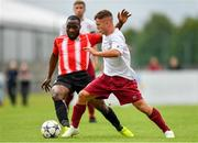 11 August 2019; Cian McMullan of Killester Donnycarney in action against Ajitola Sule of Lucan United during the Extra.ie FAI Cup First Round match between Lucan United and Killester Donnycarney at Celbridge Football Park in Kildare. Photo by Seb Daly/Sportsfile