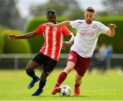 11 August 2019; Eoin Fowler of Killester Donnycarney in action against Tayem Dinamunenge of Lucan United during the Extra.ie FAI Cup First Round match between Lucan United and Killester Donnycarney at Celbridge Football Park in Kildare. Photo by Seb Daly/Sportsfile