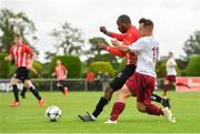 11 August 2019; Bobinel Mazono of Lucan United in action against Cian McMullan of Killester Donnycarney during the Extra.ie FAI Cup First Round match between Lucan United and Killester Donnycarney at Celbridge Football Park in Kildare. Photo by Seb Daly/Sportsfile
