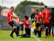 11 August 2019; Ajitola Sule of Lucan United celebrates after scoring his side's second goal during the Extra.ie FAI Cup First Round match between Lucan United and Killester Donnycarney at Celbridge Football Park in Kildare. Photo by Seb Daly/Sportsfile