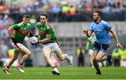 10 August 2019; Patrick Durcan of Mayo in action against Jack McCaffrey of Dublin during the GAA Football All-Ireland Senior Championship Semi-Final match between Dublin and Mayo at Croke Park in Dublin. Photo by Ramsey Cardy/Sportsfile