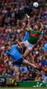10 August 2019; Aidan O'Shea of Mayo in action against Brian Fenton, left, and Michael Darragh Macauley of Dublin during the GAA Football All-Ireland Senior Championship Semi-Final match between Dublin and Mayo at Croke Park in Dublin. Photo by Stephen McCarthy/Sportsfile