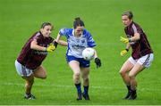 10 August 2019; Eimear Fennell of Waterford in action against Sinead Burke and Tracey Leonard of Galway during the TG4 All-Ireland Ladies Football Senior Championship Quarter-Final match between Galway and Waterford at Glennon Brothers Pearse Park in Longford. Photo by Matt Browne/Sportsfile