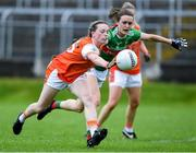 10 August 2019; Aoife McCoy of Armaghin action against Ciara McManamon of Mayo during the TG4 All-Ireland Ladies Football Senior Championship Quarter-Final match between Mayo and Armagh at Glennon Brothers Pearse Park in Longford. Photo by Matt Browne/Sportsfile